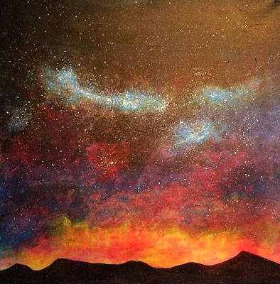 Nachthimmel in heißem Sommer, Acryl, 40x40, € 120,00