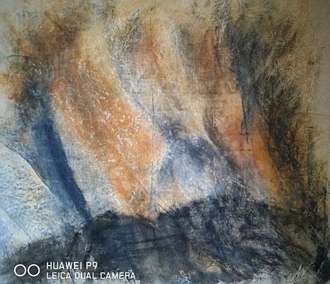 """Sajan Gebirge II"", Kohle, Tusche, 60x65, € 350,00"