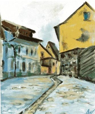 """""""Rottenburg o.d. Taube"""", Acryl, 20x30, verschenkt"""