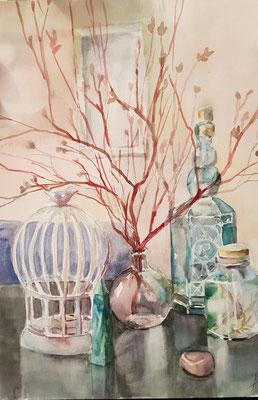 Stillleben mit den Zweigen, Aquarell, 40x50, € 150,00