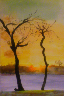 """Winterabend"", Aquarell, 30x40, verschenkt"