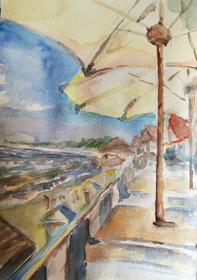 Am Strand, Selenogradsk, Aquarell, 18x24, € 30,00