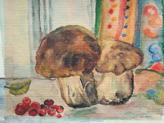 """""""Steinpilze"""", Aquarell, 18x24"""