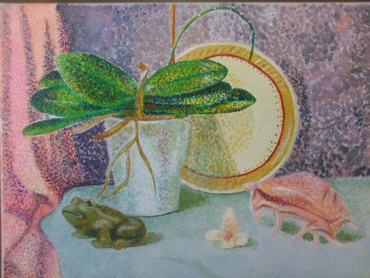 Stillleben mit Orchidee, Acryl, 40x30, verschenkt