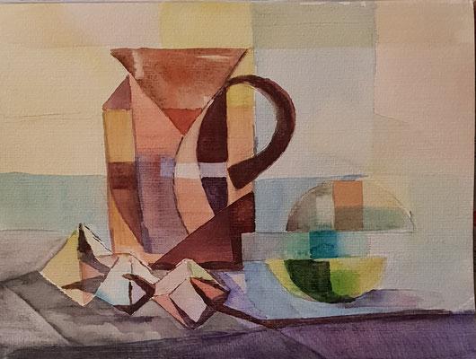 Stillleben mit der Baumwolle, kubistisch, Aquarell 20x30m € 70,00