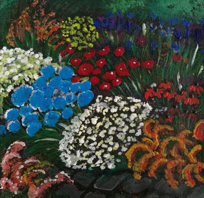 """""""im Botanischen Garten"""", Wachsmalkreide, Acryl, 16x16, € 50,00"""