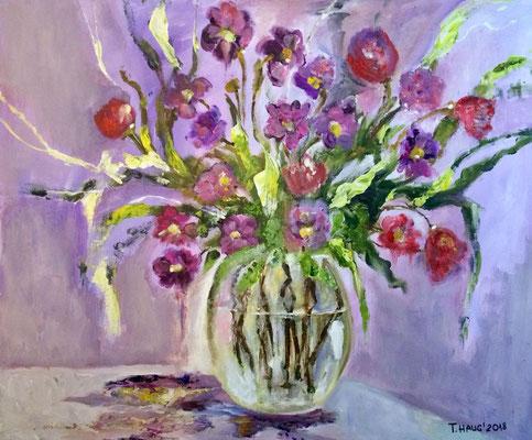 Lila Blumen, Acryl, 40x50, € 150,00