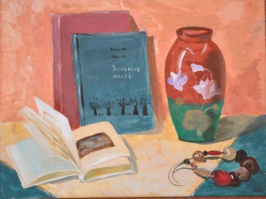 """""""Stillleben mit Büchern"""", Acryl, 30x40, € 100,00"""