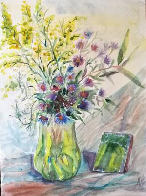 """Blumen aus unserem Garten"", Aquarell, 30x40, verschenkt"