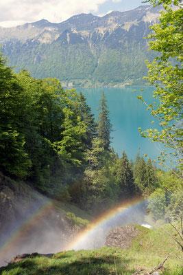 Regenbogen durch die Giessbachfälle; Foto: Sabine Mathis
