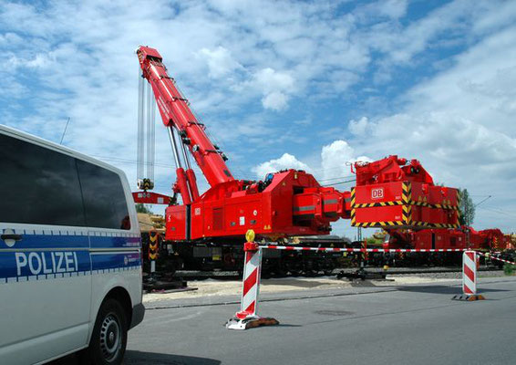 Bergungsarbeiten entgleister Bauzug Radolfzell