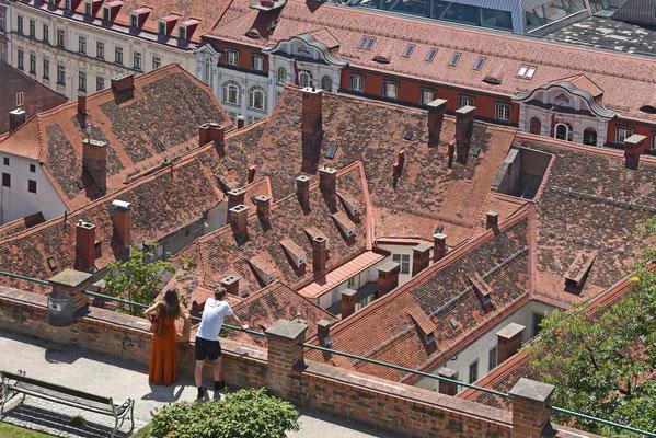 Dachlandschaft von oben (Graz); Foto: Rudi Franck