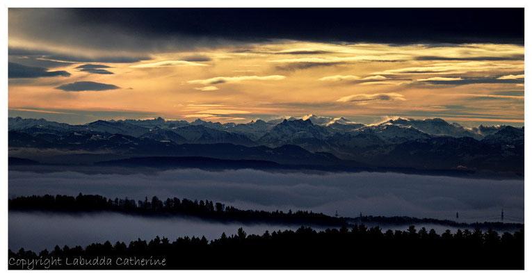 Alpensicht vom Bühl aus gesehen oberhalb von Birkendorf