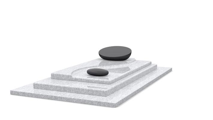 Référence : SOCONT426 Stèle K26 - Granit utilisé : Viscont White et Noir Fin