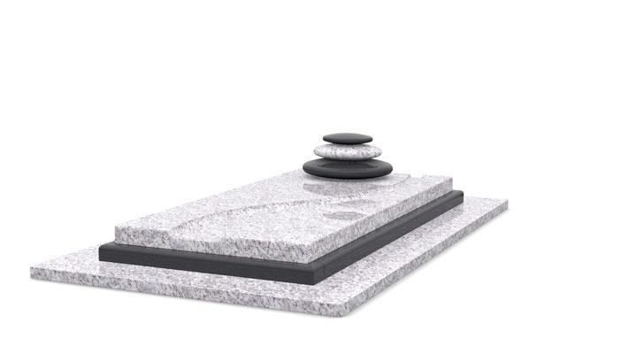 Référence : SOCONT408 Granit utilisé : Jasmine White et Noir Fin