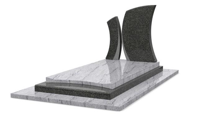 Référence : SOCONT415 Stèle K15  Granit utilisé : Kuppam Green et Noir Fin