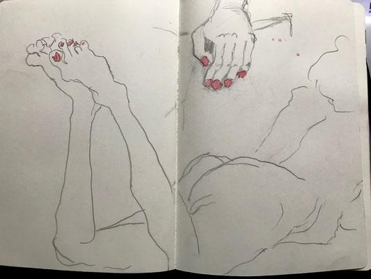 Skizzenbuch, Bleistift und Aquarell