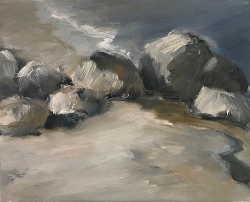 Sandstein, 24x30cm, Öl auf Leinwand