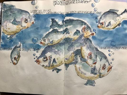 Skizzenbuch, Fineliner und Aquarell