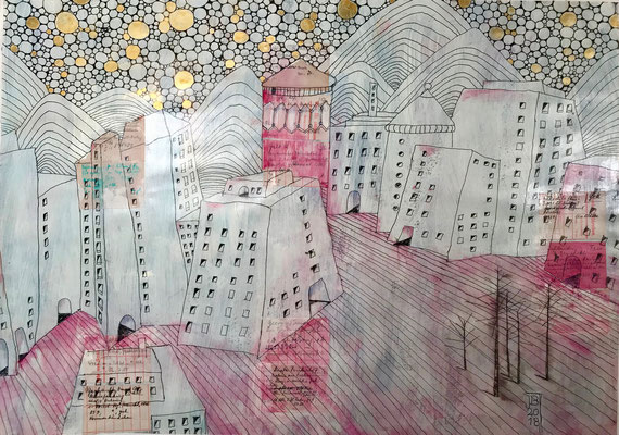 Stadt, 50 x 70 cm, Mixed Media auf Papier