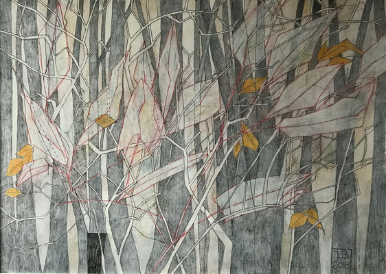 Wald , 50 x 70 cm, Mixed Media auf Papier