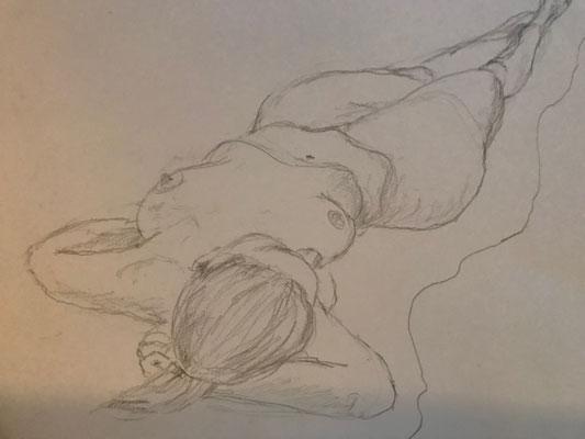 Aktskizze, 30x40cm, Bleistift