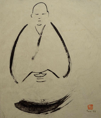 Mönch in Meditation - Sumi-e