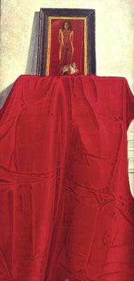 Akt mit rotem Tuch und goldener Schnecke