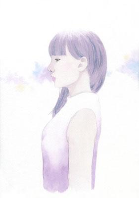『Purple』横顔カルテット、オリジナル、透明水彩、2016