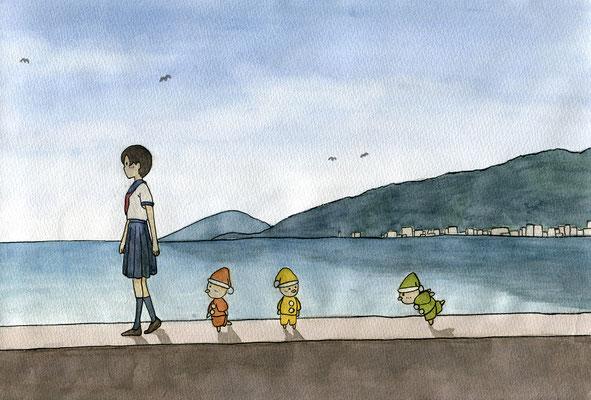 『小人のいる港町』小人のいる日常シリーズ、オリジナル、透明水彩、2016