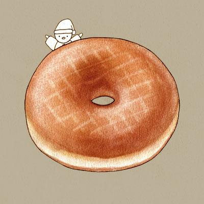 『ドーナツ』FOODS AND AN ELF、オリジナル、透明水彩、2017