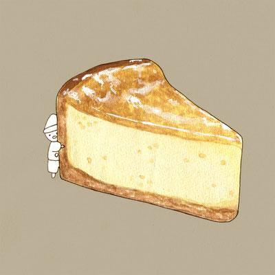 『チーズケーキ』FOODS AND AN ELF、オリジナル、透明水彩、2017