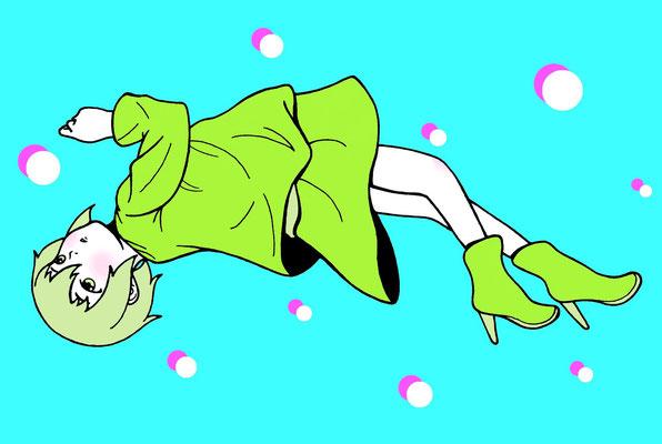 『浮遊少女』オリジナル、ポストカード展出展、2015