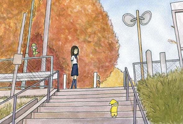 『小人のいる秋』小人のいる日常シリーズ、オリジナル、透明水彩、2016