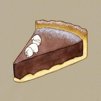 『チョコタルト』FOODS AND AN ELF、オリジナル、透明水彩、2017