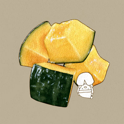 『南瓜の煮物』FOODS AND AN ELF、オリジナル、透明水彩、2017