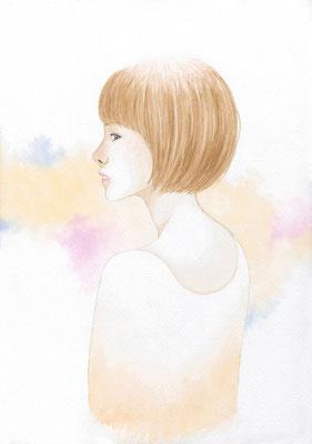 『Yellow』横顔カルテット、オリジナル、透明水彩、2016