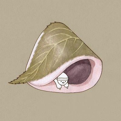 『桜餅』FOODS AND AN ELF、オリジナル、透明水彩、2017
