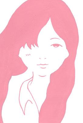 『桃色の少女』オリジナル、ポストカード展出展、2014
