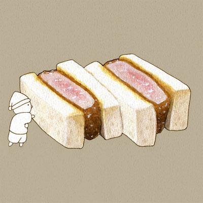 『カツサンド』FOODS AND AN ELF、オリジナル、透明水彩、2017