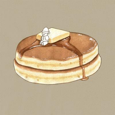 『ホットケーキ』FOODS AND AN ELF、オリジナル、透明水彩、2017