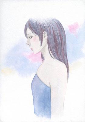 『Blue』横顔カルテット、オリジナル、透明水彩、2016