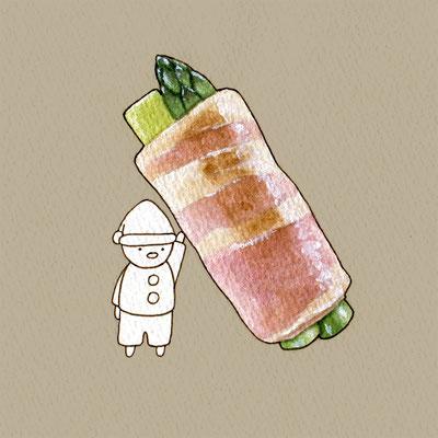 『アスパラベーコン』FOODS AND AN ELF、オリジナル、透明水彩、2017