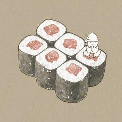 『鉄火巻』FOODS AND AN ELF、オリジナル、透明水彩、2017