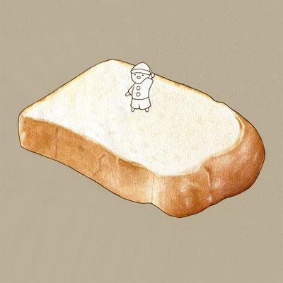 『食パン』FOODS AND AN ELF、オリジナル、透明水彩、2017