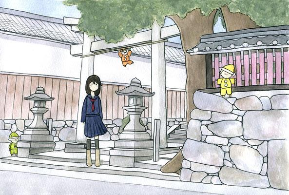 『小人のいる神社』小人のいる日常シリーズ、オリジナル、透明水彩、2016