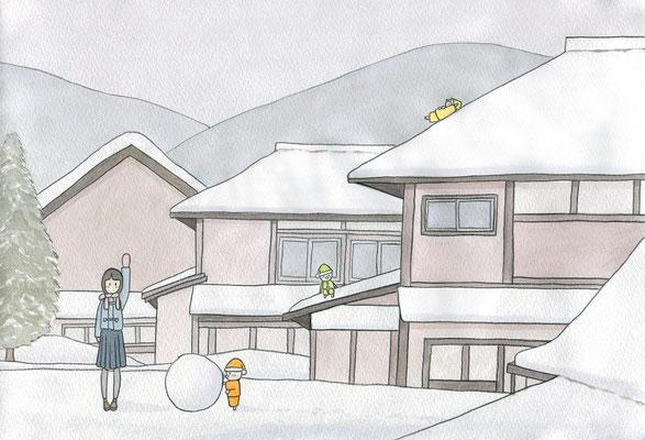 『小人のいる冬』小人のいる日常シリーズ、オリジナル、透明水彩、2016