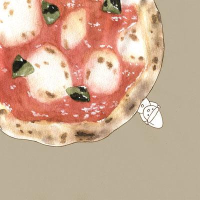『ピザ』FOODS AND AN ELF、オリジナル、透明水彩、2017