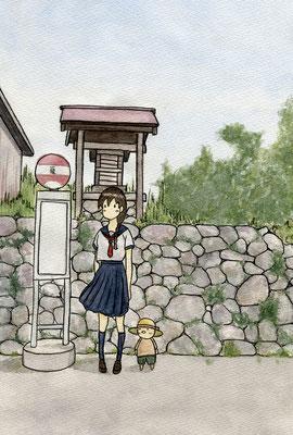 『小人のいるバス停』小人のいる日常シリーズ、オリジナル、透明水彩、2016