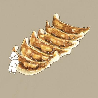 『餃子』FOODS AND AN ELF、オリジナル、透明水彩、2017